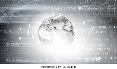Background conceptual image of digital globe and binary code. Elements of this image are furnished by NASA