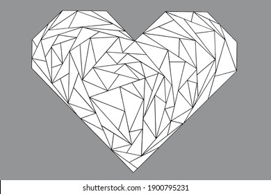 Background for congratulations to Valentine's Day. Hand drawn ink and watercolor heart shaped.Geometric heart to bring your ideas to life.