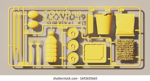 "Background for coronavirus outbreak. Yellow plastic assembly kit of "" COVID-19 Survival Kit"" with instant and budget food. 3d rendering illustration."