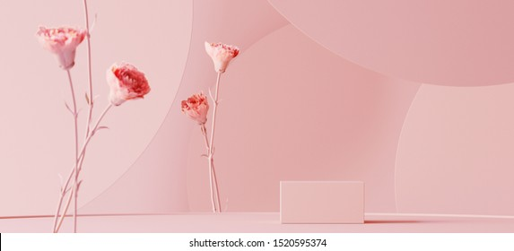 Background for cosmetic product branding, identity and packaging inspiration. Podium with pink carnations and pink circular geometry background. 3d rendering illustration.
