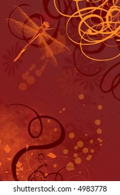 Background with dark red and yellow and orange, with dragonfly