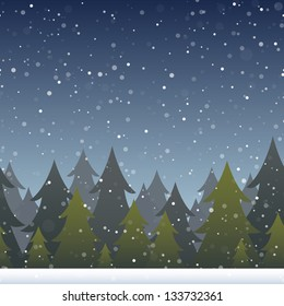 A background depicting a snowy evergreen forest. Horizontally repeatable. Raster.