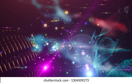 Background design abstract forms and planets on the subject of science.  Explosion of stars in space. Fantastic galaxy in the universe. Planets in distant solar system in space. Furnishing by NASA - Shutterstock ID 1304509273
