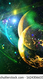Background design abstract forms and planets on the subject of science.  Explosion of stars in space. Fantastic galaxy in the universe. Planets in distant solar system in space. Illustration from NASA