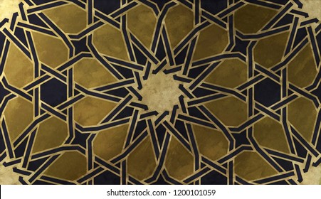 Background design based on traditional oriental graphic motifs. Islamic decorative pattern with golden artistic texture. Arabian ethnic mosaic with interlacing lines and geometric tiled ornaments.