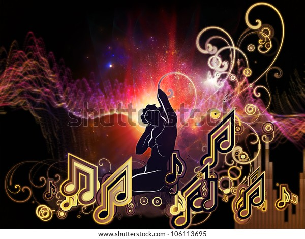 Background design of girl silhouette, notes, lights and abstract design elements on the subject of music, song, performance and dance