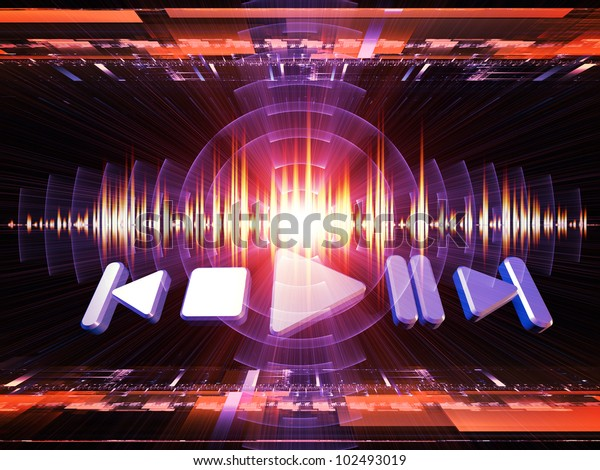 Background design of player controls, perspective fractal grids, lights, wave and sine patterns on the subject of music, sound equipment and processing, audio performance and entertainment