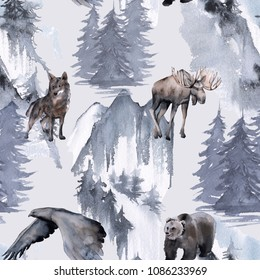 Background with an eagle, a bear, an elk and a wolf. Seamless pattern. watercolor illustration