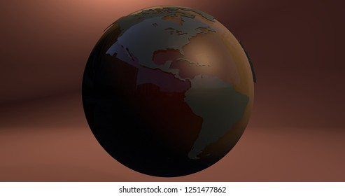 A background with the Earth planet made with gradiant colors, which shows the American continent. 3D Illustration.