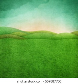 Background  Easter  festive greeting card  or poster with  green rustic landscape