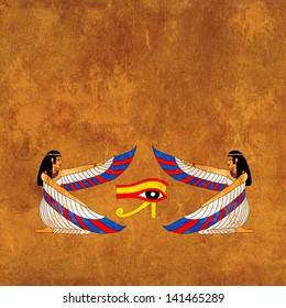 Background with Egyptian goddess Isis image