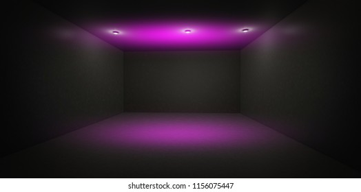Background of an empty black corridor with neon light. Abstract background with lines and glow. 3d rendering.
