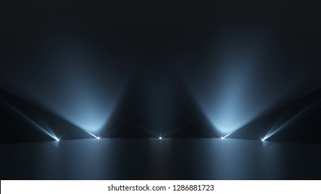 Background of empty dark podium with pink and purple lights. 3d render