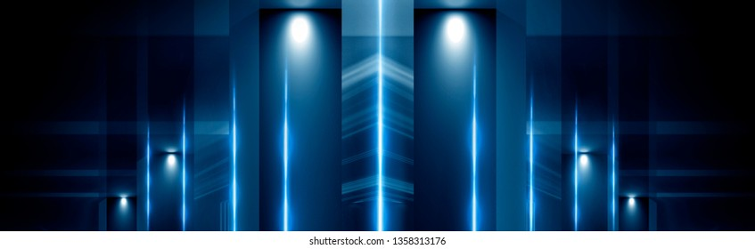 Background of empty dark room, corridor, tunnel, hall with columns and spotlight. Abstract dark blue background with rays and lines.