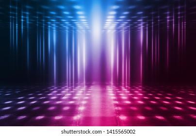 Background of an empty disco scene. Neon square figure in the center of the scene. Neon light smoke. Dark abstract futuristic background