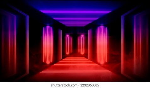 The background is an empty hall with columns, a dark room with neon lamps, a passage highlighted by spotlights, light. Abstract tunnel with neon lights and smoke. Night view of the room.