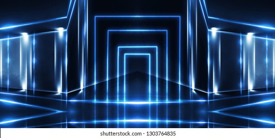 background of empty room, lamps, neon light, smoke, fog. Product showcase spotlight background. Clean photographer studio. Abstract blue background with rays of neon light, spotlight. 3D rendering.