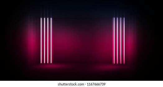 Background of an empty room at night with smoke and neon light. Dark abstract background. Background of an empty show scene. 3D rendering
