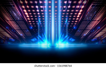 Background of empty show scene. Empty dark modern abstract neon background. Glow of neon lights on an empty stage, diodes, rays and lines. Lights of the night city.