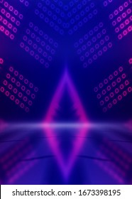 Background empty show scene. Ultraviolet dark abstract background. Geometric neon shapes, neon glow, blue and pink lighting