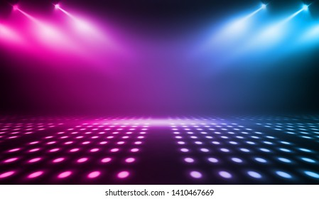 Background of empty stage show. Neon blue and purple light and laser show. Laser futuristic shapes on a dark background. Abstract dark background with neon glow