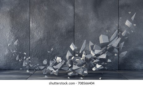 Background is an empty wall of the interior with a stone texture, a floor and stone fragments. 3d illustration, 3d rendering.