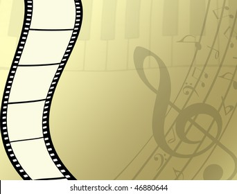 background with film strip, piano keys and musical notes