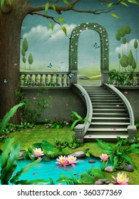 Background with floral green arch on stairs and pond with flowers.