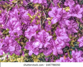 Background with flowers. Pattern for print, advertising, web design. Azalea. Stylization: watercolor.