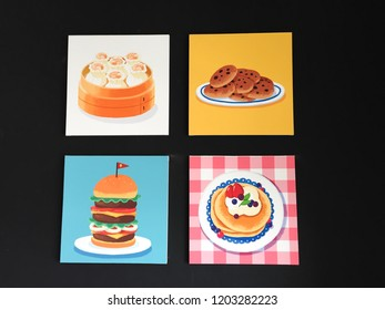 Background of food painting canvas; burger, dim sum, cookie, pancake, on the black background