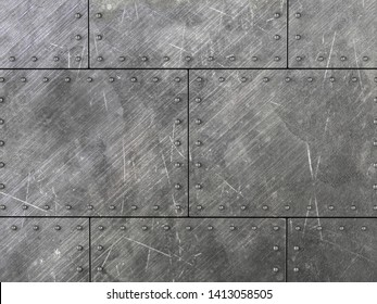 Background formed by scratched metal plates with rivets. 3D illustration.