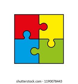 Background four piece puzzle pattern. Abstrect puzzles picture. Simple 4 piece puzzle wallpaper template. banner presentation picture.