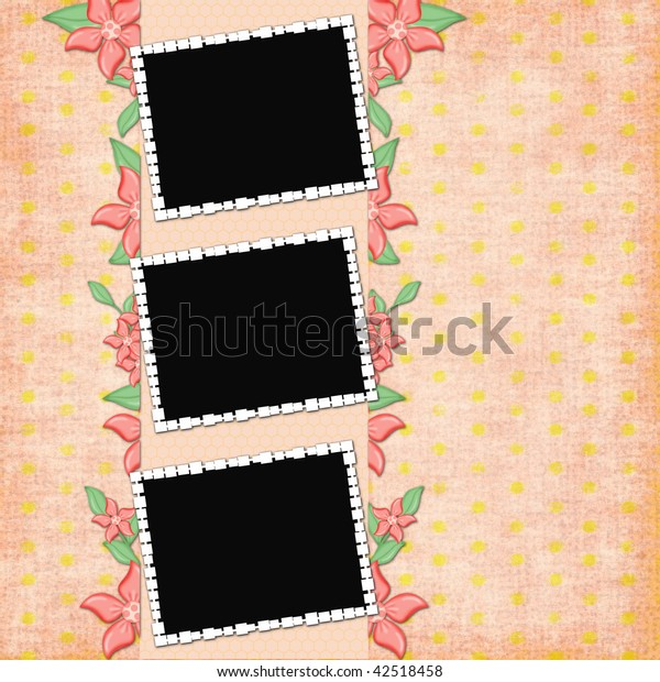 background with frames and flowers
