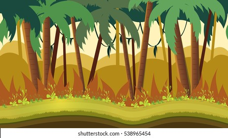 Background for games apps or mobile development. Cartoon nature landscape with jungle. Size 1920x1080