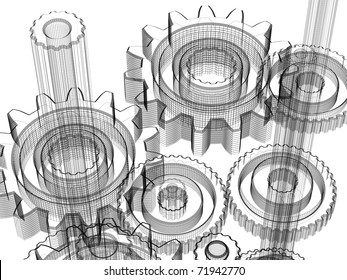 Background gears industrial design. Conceptual 3d wire-frame illustration.
