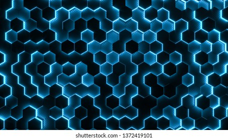 Background with geometric hexagonal geometries in carbon fiber and with shiny parts. 3d rendered image, concept of modern and futuristic structure.