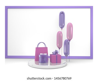 Background with gifts and balloons in purple and pink. 3d rendering