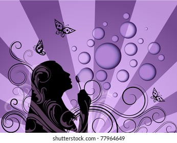Background with girl silhouette blowing soap bubbles - raster version