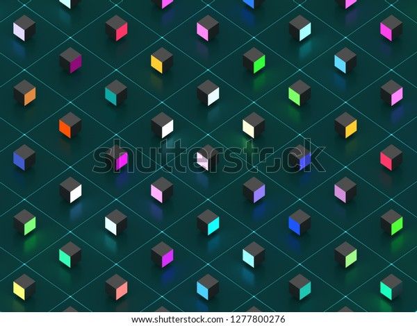 background of glowing colored cubes