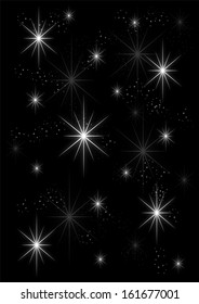 Background glowing stars on black