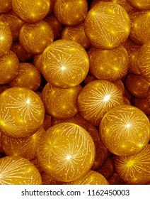 Background of gold balls. Abstract color holiday 3D rendering illustration. Yellow spheres