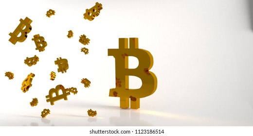 Background with gold bitcoin symbol. 3d rendering.