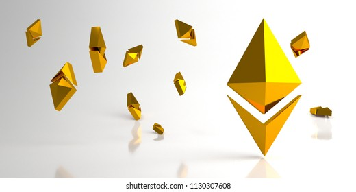 Background with gold ethereum and shadow. 3d rendering.