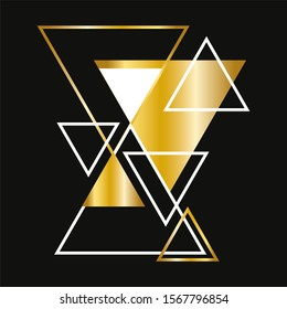 Background with gold, white geometric shapes on black. Concept Polygon Dynamic triangle Design Template.