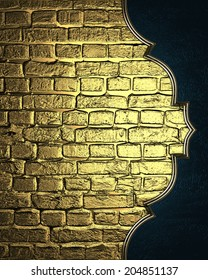 Background of golden bricks with blue edge with gold trim. Design template. Design site.