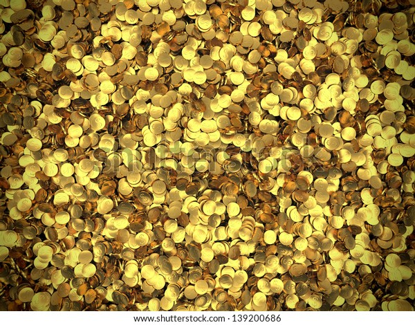 Background of golden coins piled in a heap. Storage of gold. Success and Wealth.