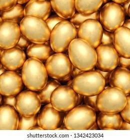 background of golden eggs. 3d rendering