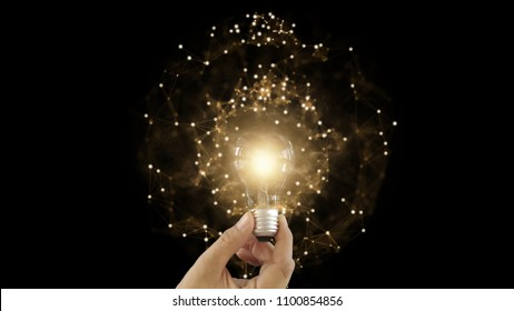Background of good successful technology innovation of future creative thinking planning idea with digital financial education of network connection strategy on hand holding light bulb concept
