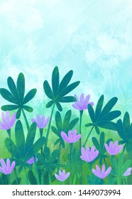 Background with green-blue leaves and lilac flowers. Digital illustration.