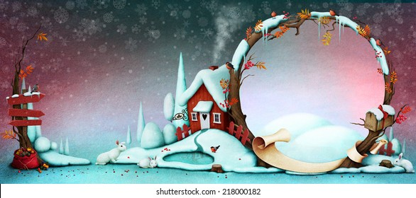 Background for  Greeting card or illustration for Christmas or New Year